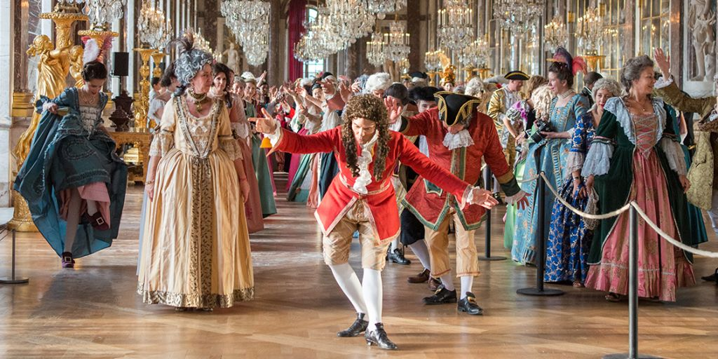 Dancers bow in the Hall of Mirrors at Versailles during Fetes Galantes 2017.